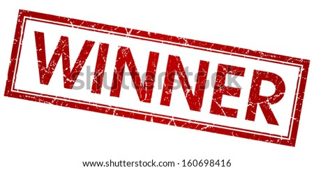 winner red grunge vector square stamp - stock vector