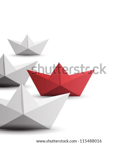winner red paper ship - stock vector