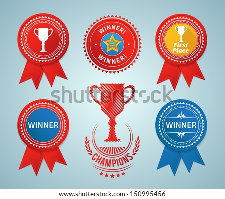 Winner ribbons and badges. EPS10. - stock vector