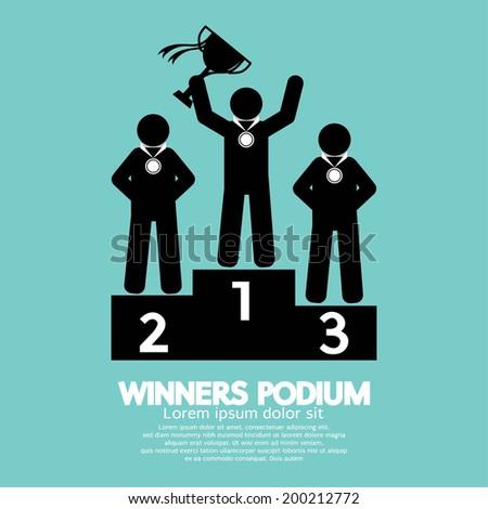 Winners Podium Symbol Vector Illustration - stock vector