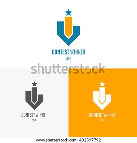 Winners podium with star. Logo, label, symbol or icon inspiration for shops, companies, advertising or other business. Vector Illustration, graphic elements editable for design with award and trophy.  - stock vector