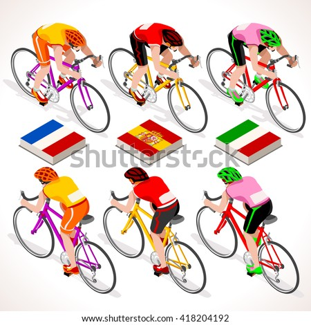 Winners t Shirt Vuelta de Espana Spain. Tour de France racing cyclist. Giro di Italia riding bicycle path vector. Isometric bicycle race Cycling icon. Winner Red Shirt. Winning Bicyclist Podium Goal - stock vector