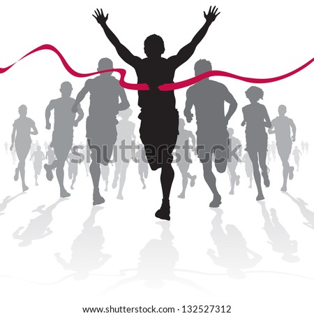 Winning Athlete crosses the finish line - stock vector