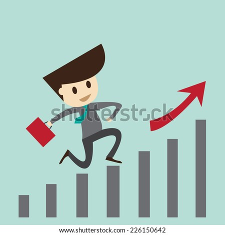 winning business man jumping o top of a graph - stock vector