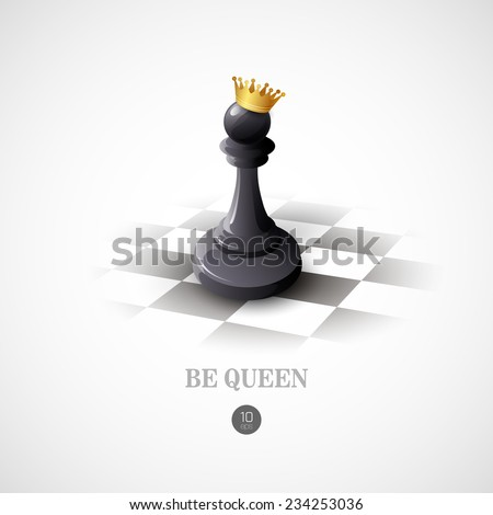 Winning Chess concept. Vector background - stock vector