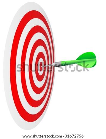 Winning concept.  Dart's hit the bull's eye isolated on white background. - stock vector