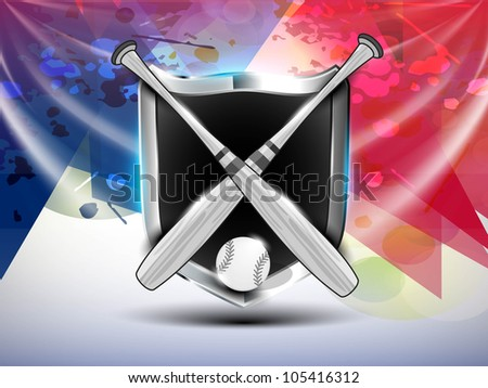 Winning glossy shield of American Baseball on grungy red and blue background. EPS 10. - stock vector