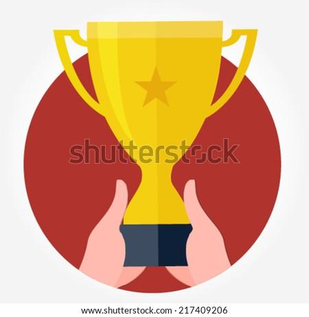 winning hands holding the golden cup - flat design vector  - stock vector