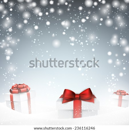 Winter abstract background with snow and gift boxes. Christmas vector wallpaper. Eps10.   - stock vector