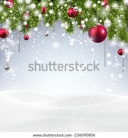 Winter abstract background with spruce twigs and snow. Christmas vector wallpaper. Eps10.  - stock vector