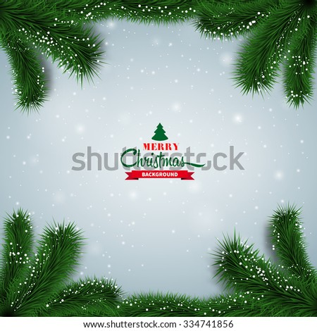 Winter abstract background with spruce twigs. Christmas vector frame - stock vector