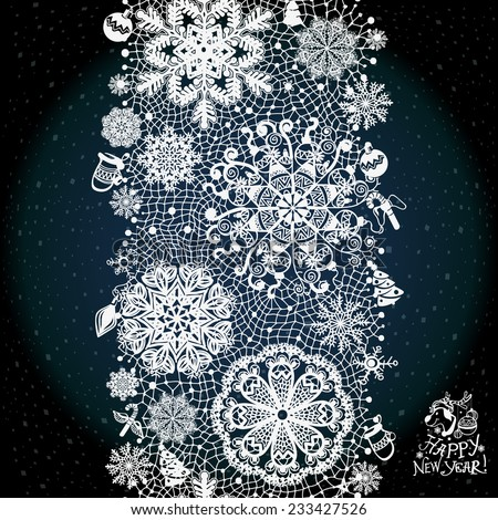 Winter abstract lace from snowflakes.The abstract lace strip for decoration. Winter theme, holidays. Template frame design for card. Lace Doily. Can be used for packaging, invitations, and template. - stock vector