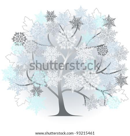 winter - abstract tree - vector - stock vector