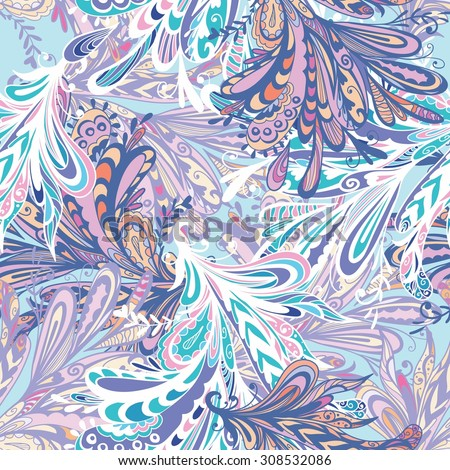 Winter Abstract Vector Pattern | Seamless psychedelic background with doodle swirls for winter and Christmas design - stock vector