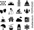 winter/alpine/ski pictograms - stock vector