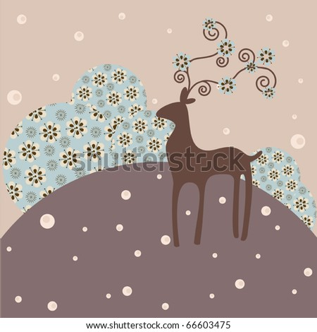 Winter and christmas greeting card background - stock vector