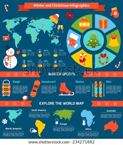 Winter and christmas infographic set with sports symbols and world map vector illustration - stock vector