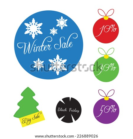 winter and Christmas labels for sale - stock vector