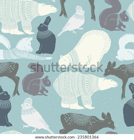 Winter animals seamless pattern with texture background - stock vector