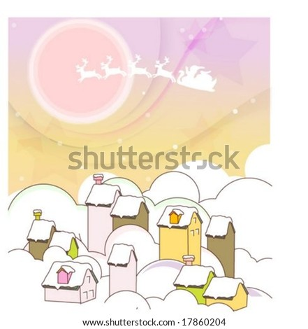 Winter Animation Sketch with Merry X-mas - traveling by sleigh and reindeer with cute santa claus on traditional holiday on background with romantic violet and yellow night sky : vector illustration - stock vector