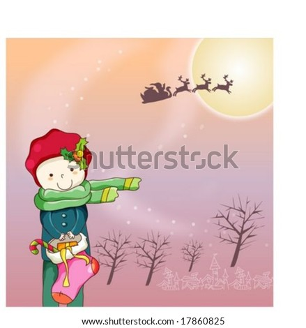 Winter Animation Sketch with Merry Xmas - traveling by sled with reindeer and cute santa claus on traditional holiday on background with beautiful violet night sky and full moon : vector illustration - stock vector