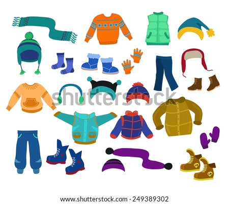 Winter apparel collection for boys - vector illustration.