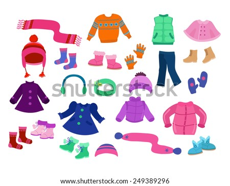 Winter apparel collection for girls - vector illustration. - stock vector