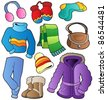 Winter apparel collection 1 - vector illustration. - stock vector