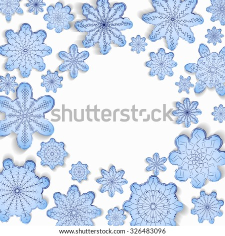 Winter background. A round frame. Blue and white snowflakes. Empty space for text. Vector illustration. - stock vector