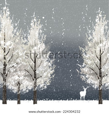Winter background at night with white trees and reindeer. File contains clipping mask, Gradient mesh. - stock vector
