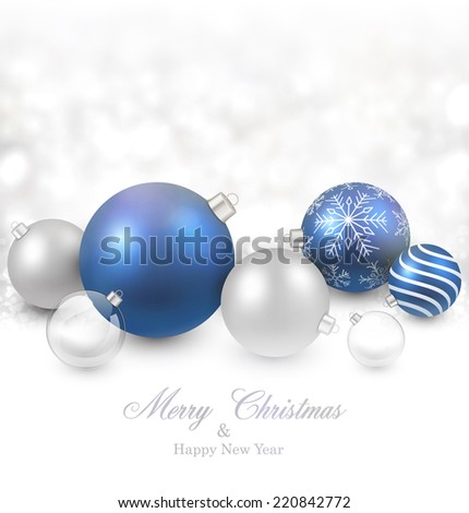 Winter background. Fallen defocused snowflakes. Christmas blue balls. Vector illustration.   - stock vector
