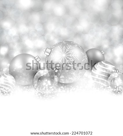 Winter background. Fallen defocused snowflakes. Christmas silver balls. Vector illustration.   - stock vector