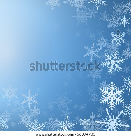 Winter background frozen with snowflakes, vector. - stock vector