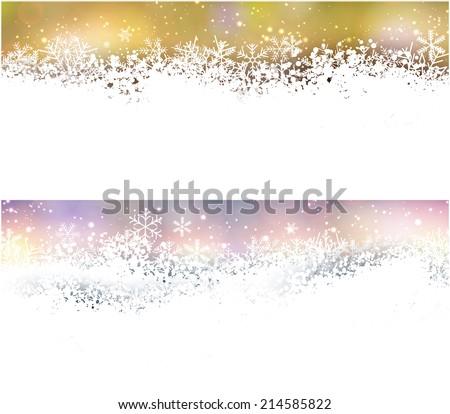 Winter background. Horizontal banners. Defocused lights. Christmas. Vector.    - stock vector