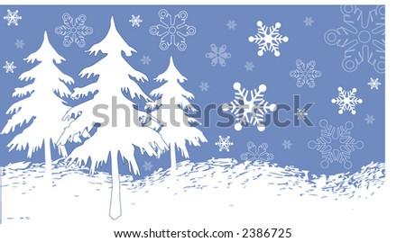 winter background illustration series - stock vector