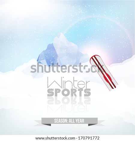 Winter background. Mountains and Snowboard in the snow - Vector Illustration - stock vector
