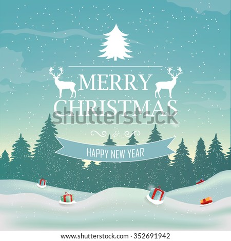 Winter background. Nature landscape. New year and Christmas background. Holidays greeting card. Vector illustration. - stock vector