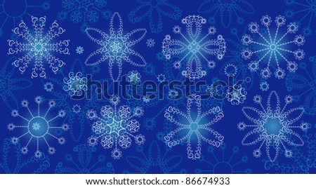 Winter background. Snowflakes, design elements. - stock vector