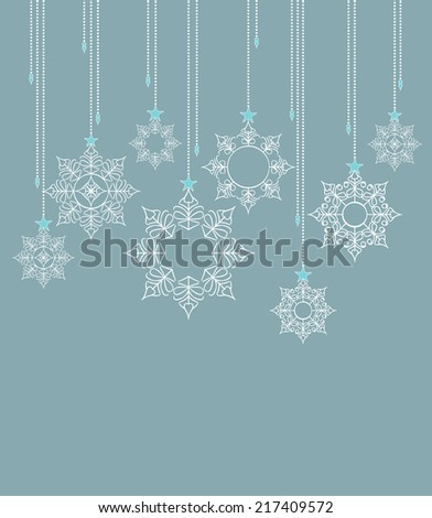winter background with beautiful various snowflakes - stock vector