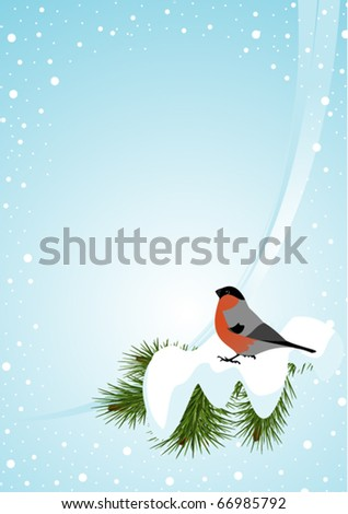 Winter background with bullfinch (vertical)