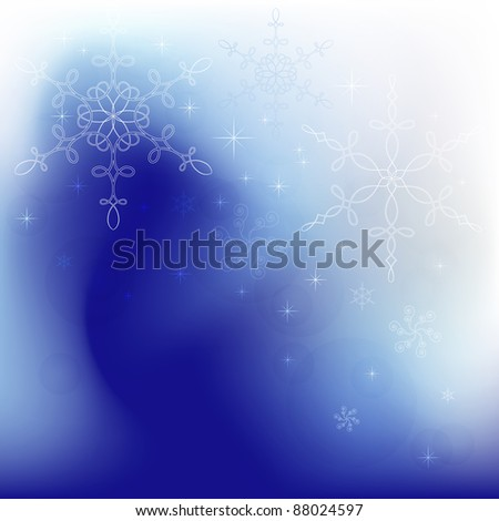 Winter background with calligraphic snowflakes - stock vector