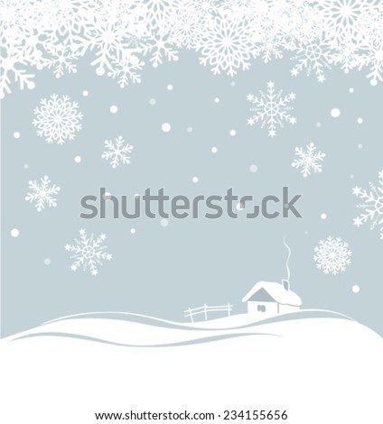 Winter background with cartoon house. Christmas vector  illustration - stock vector