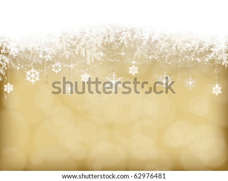 winter background with Christmas decoration - stock vector