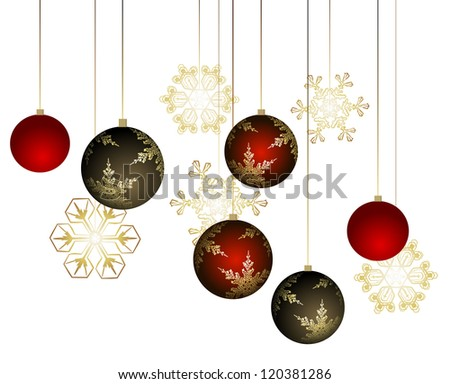 Winter background with christmas decoration - vector illustration - stock vector