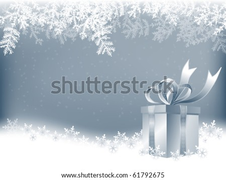 winter background with Christmas present - stock vector