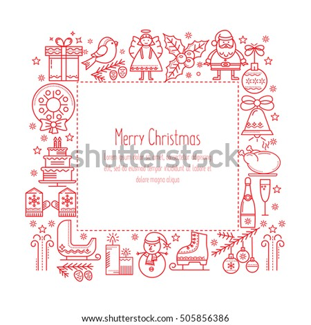 Of christmas set of christmas illustrations in a linear style santa