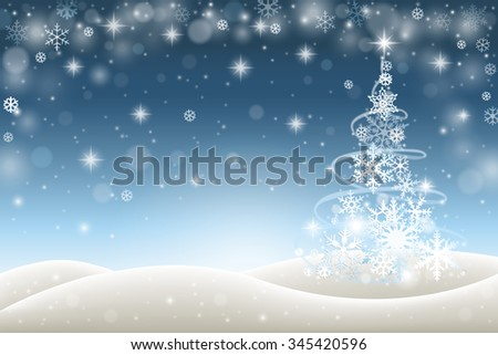 Winter background with Christmas tree from snowflakes - stock vector