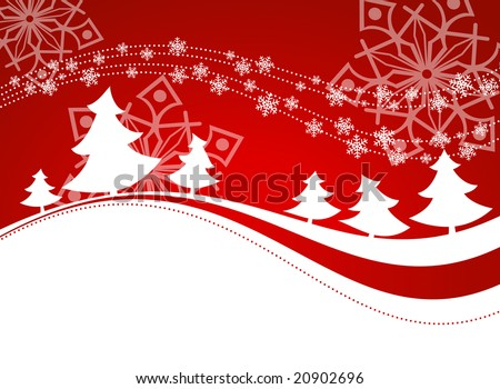 Winter background with christmas trees. - stock vector