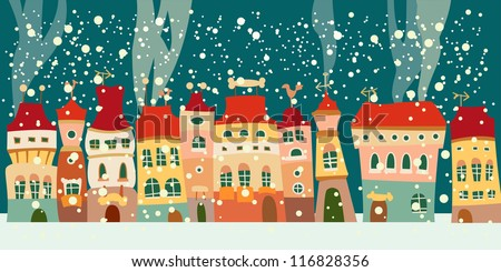 Winter background with cute little town. seamless - stock vector