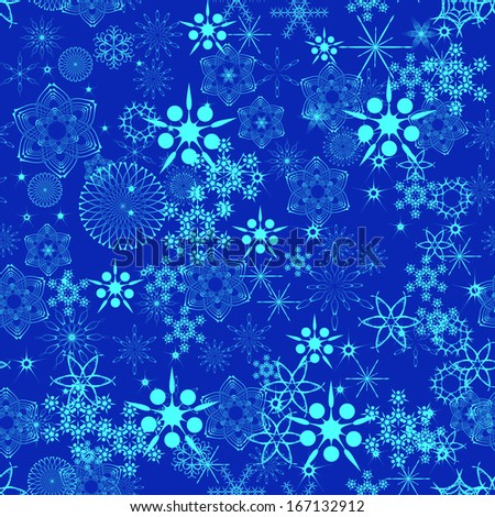 winter background with different snowflakes for your design - stock vector